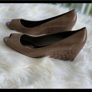 Coach brown peeptoe heels wedges size 9.5B